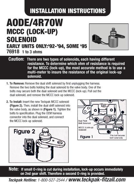 AODE/4R70W MCCC (Lock-Up) SOLENOIDfrom Teckpak / Fitzall