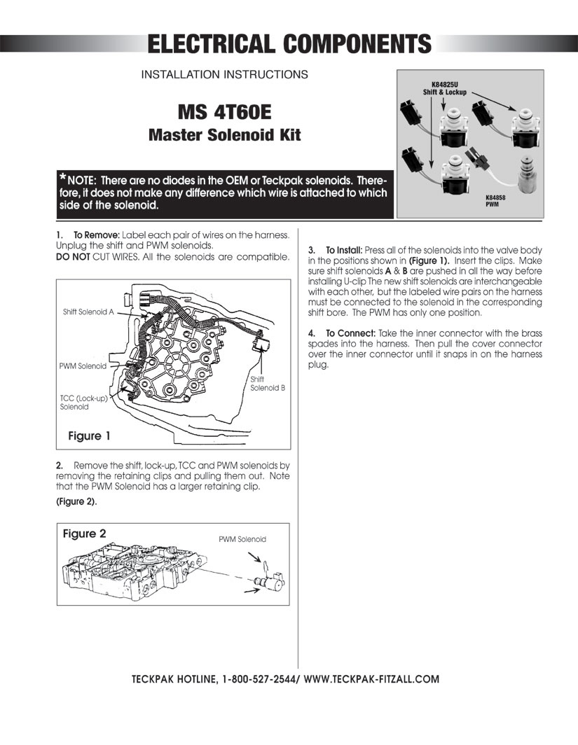 Solenoid Master Kitfrom Teckpak Fitzall 4t60e Wiring Diagram Kit